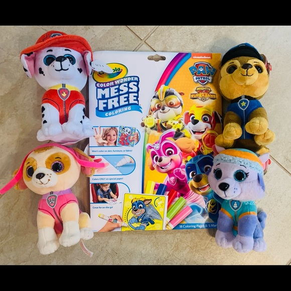 Paw Patrol Mess Free Coloring and Four Ty Beanies